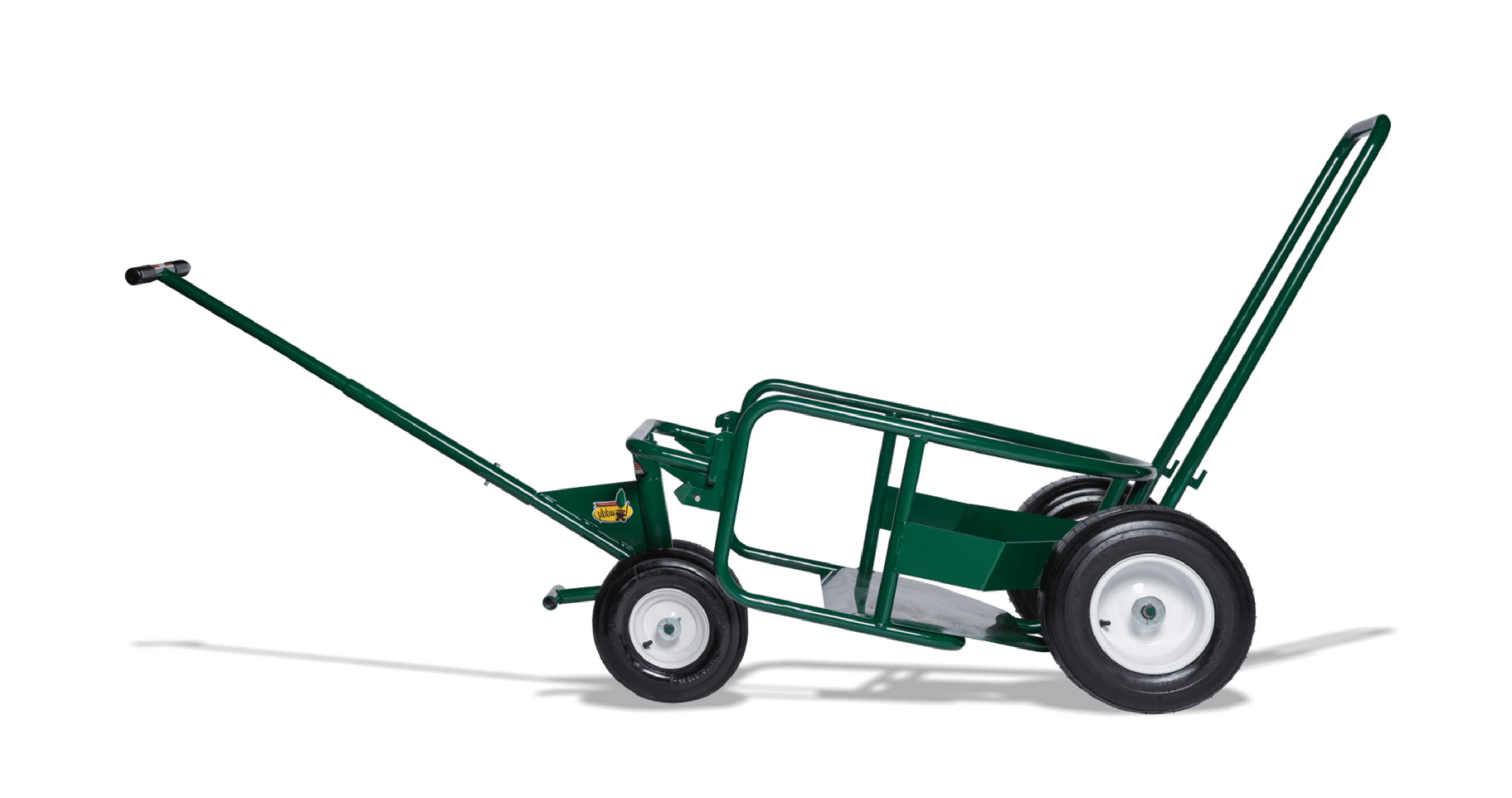 Photo of the green Landscaper's Buddy on white background. Heavy duty hand truck, ball cart, utility cart for skilled trades