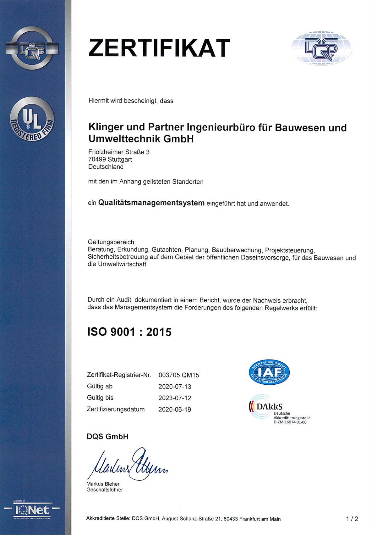 Zertifikat QM Zertifizierung
