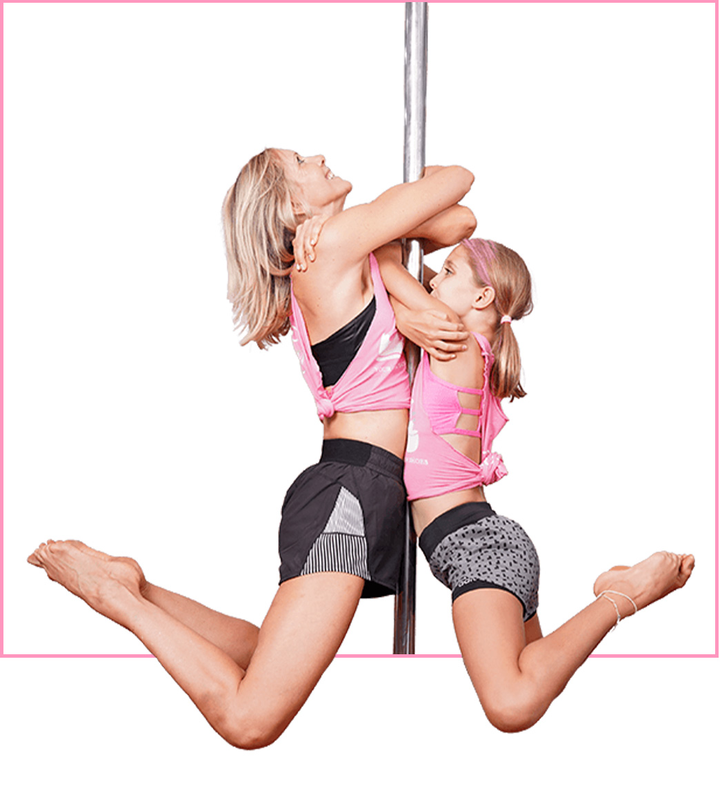 Picture of adult and child doing embrace pose on the pole