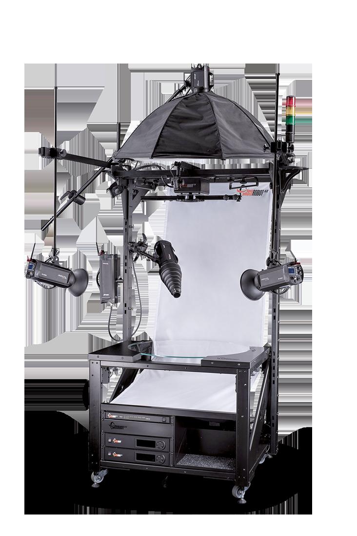 PhotoRobot 850 mm stakleni okret sa fotografskim strob svetlima i belom pozadinom