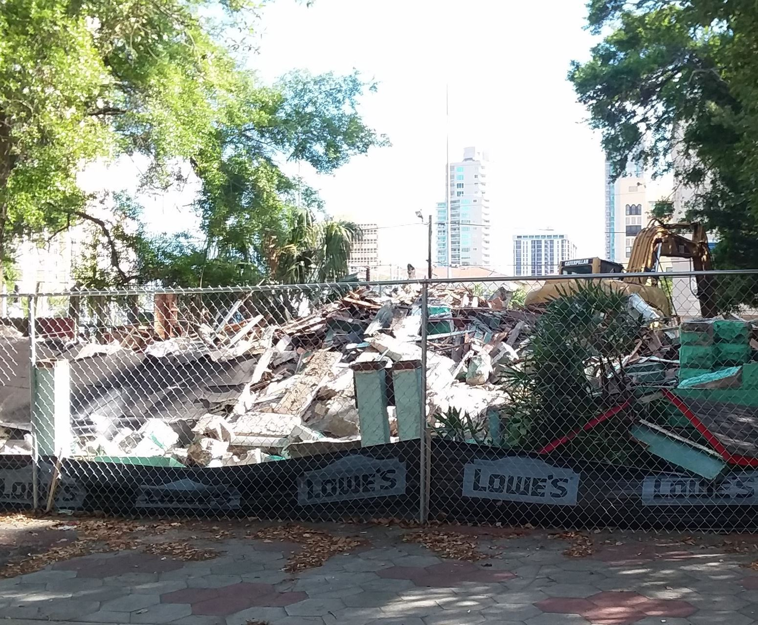 The rubble of a demolition