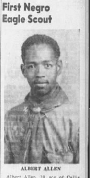 a clipping from the St. Petersburg Times announcing the city's first African American Eagle Scout, Albert Allen