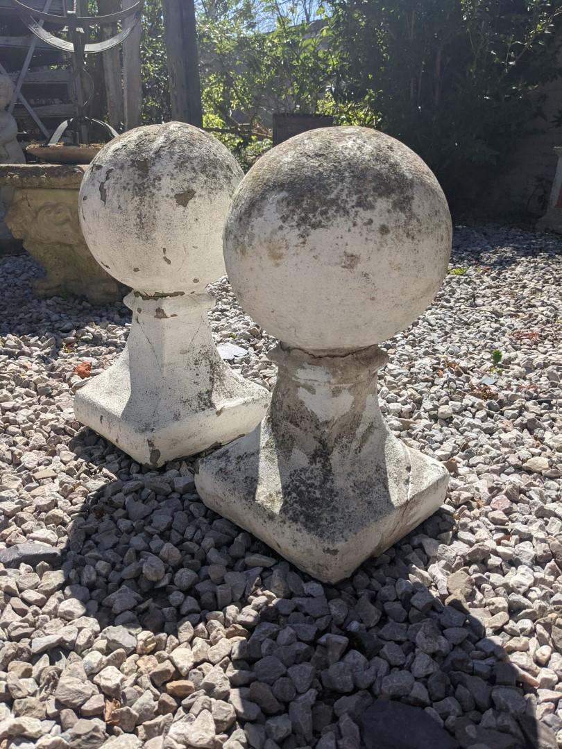Pair of stone gate pier balls