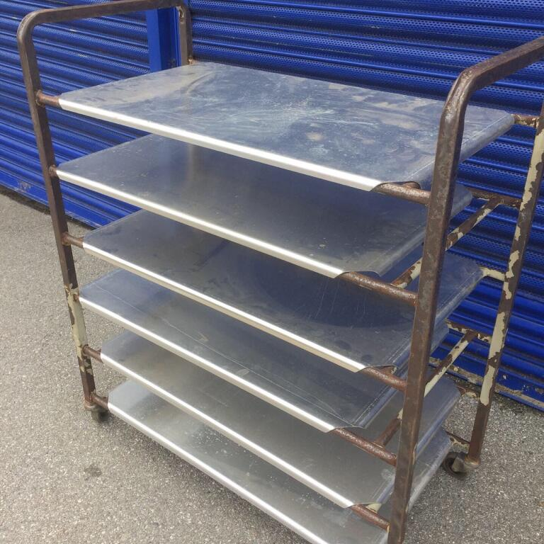 Industrial trolley with 6 stainless steel shelves