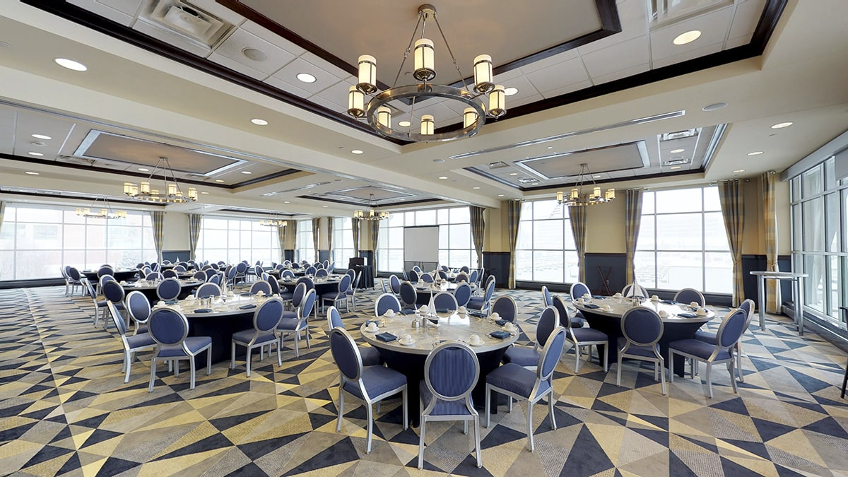 5,800 square-foot event space with tables