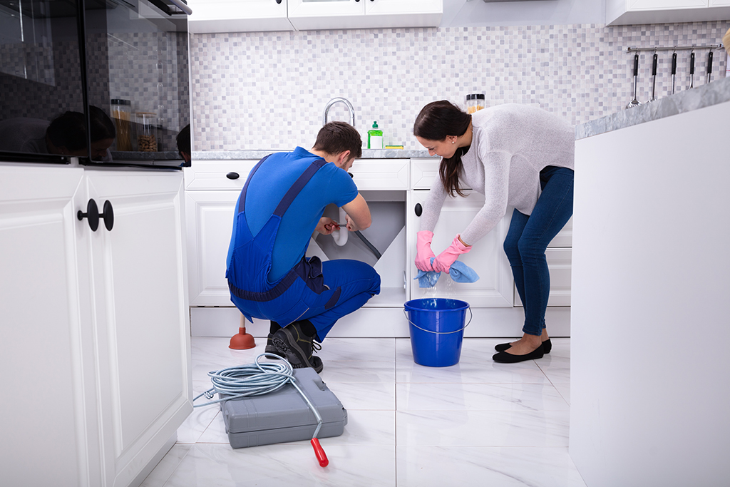 A worker cleaning under a sink