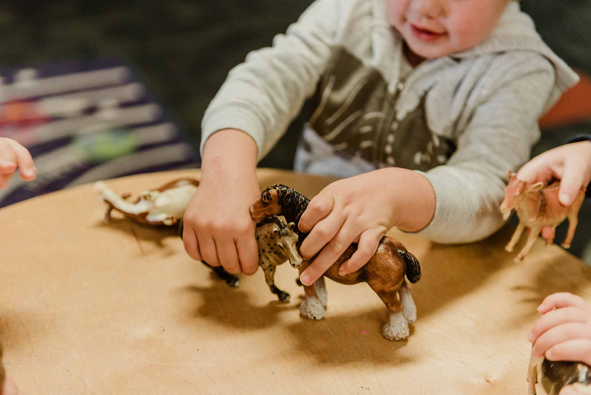 Kid playing toy animals at Centrepoint child centre