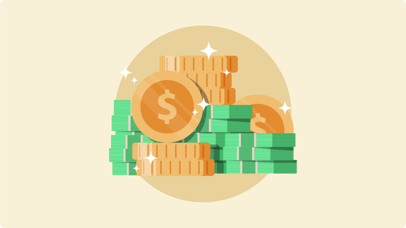 Graphic illustration of coins and stacks of money