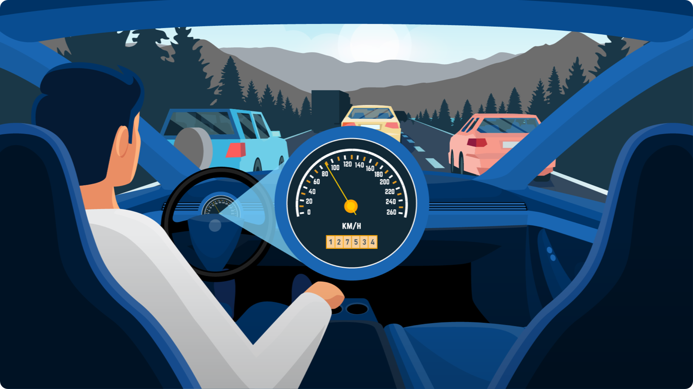 Illustrated dashboard view of someone driving on the road