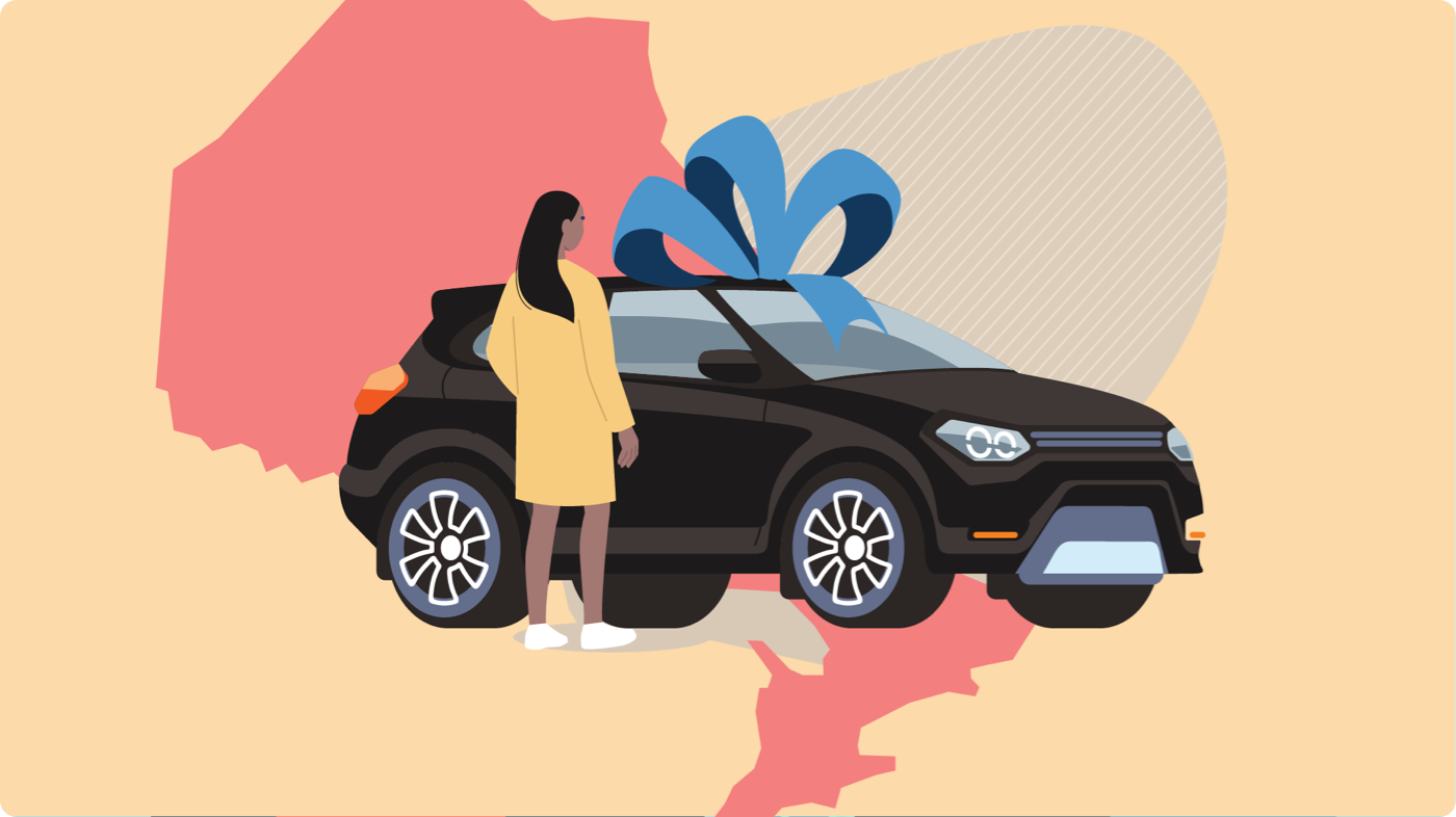 Gifting a car in Ontario: Woman receiving an SUV with a blue ribbon on top