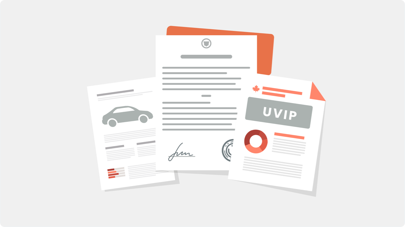 Various paperwork for selling a used car in Ontario