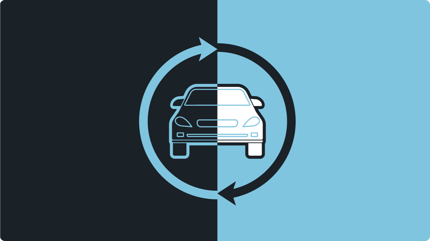 Vehicle illustration with rotating arrows
