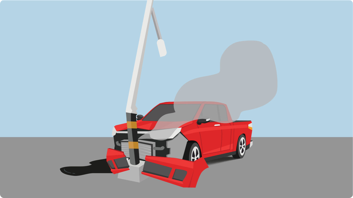 Salvage title pick-up truck crashed into a lamp post