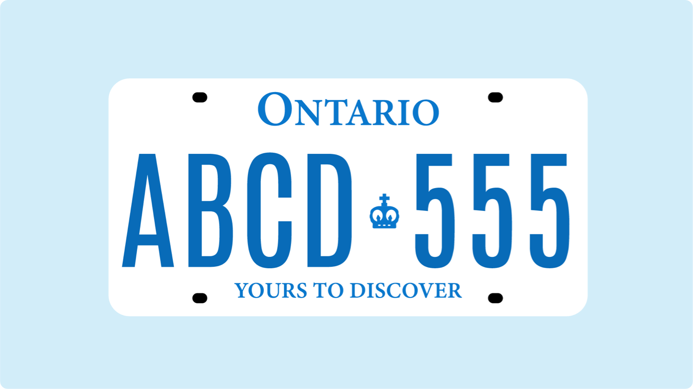Ontario vehicle licence plate