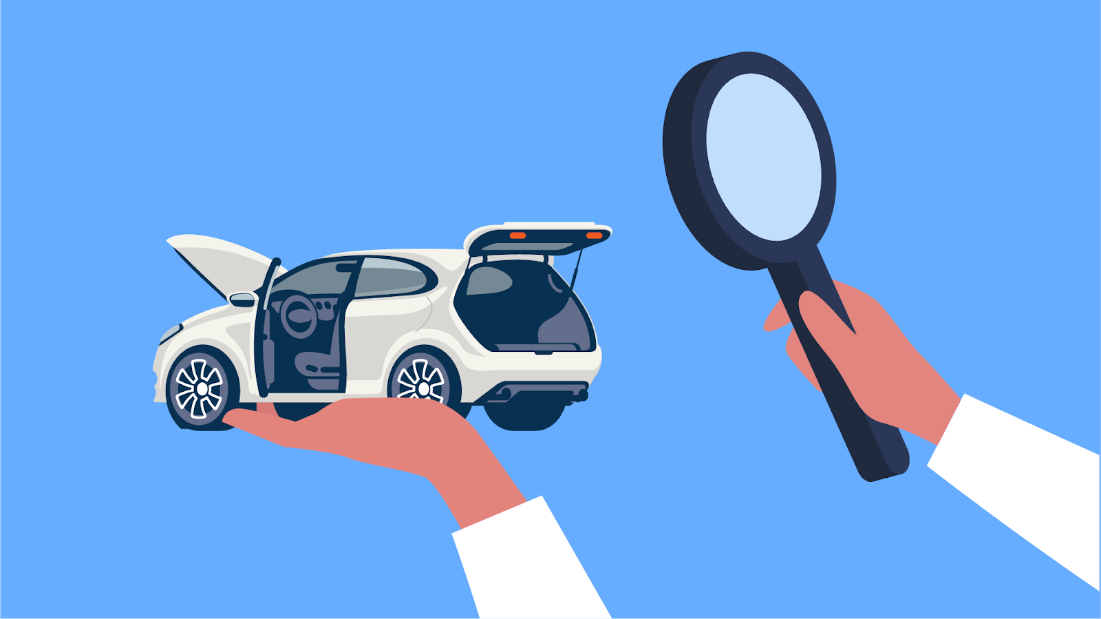 Magnifying glass observing a certified pre-owned vehicle