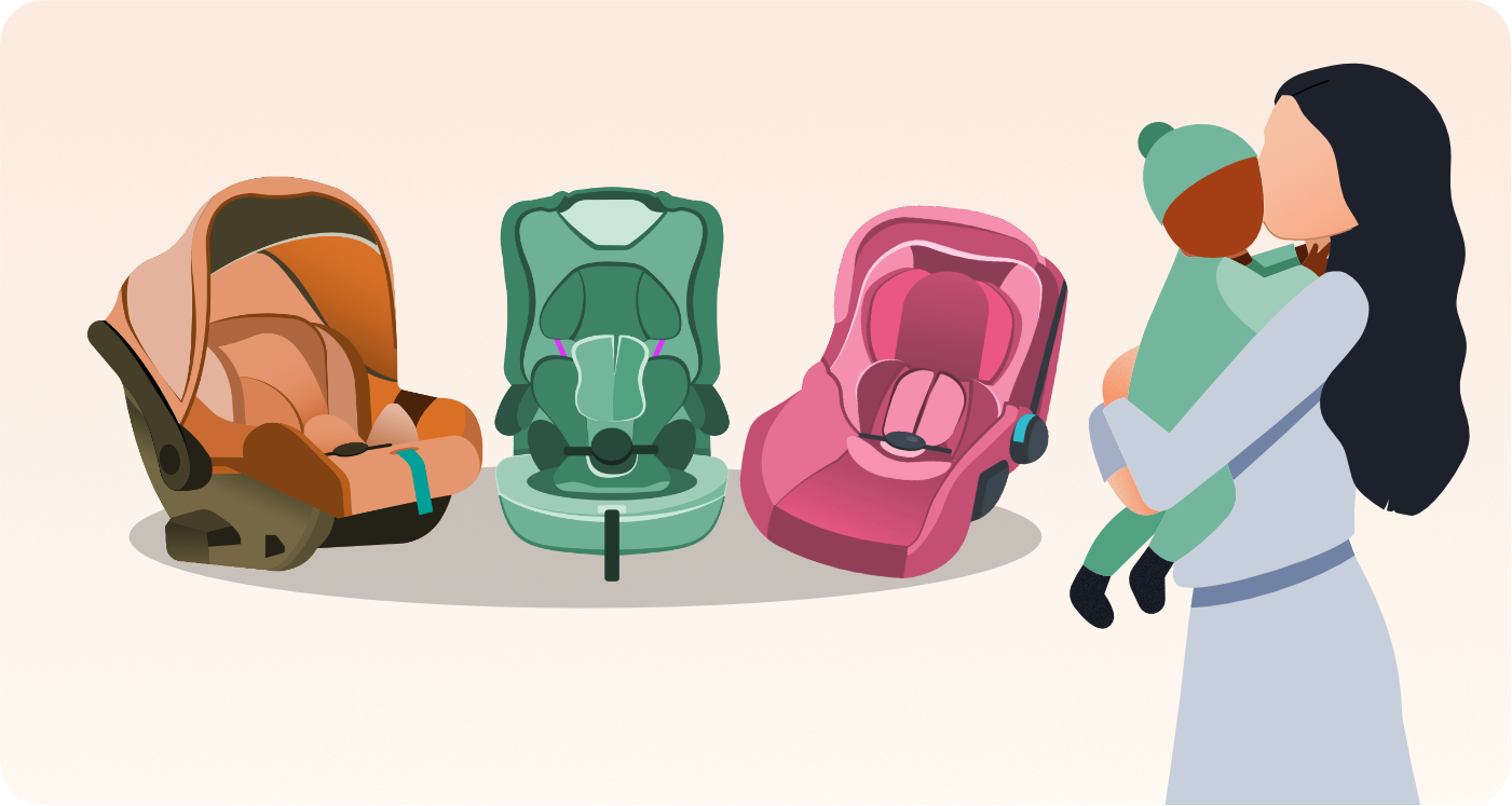 mother holding child looking at infant car seat