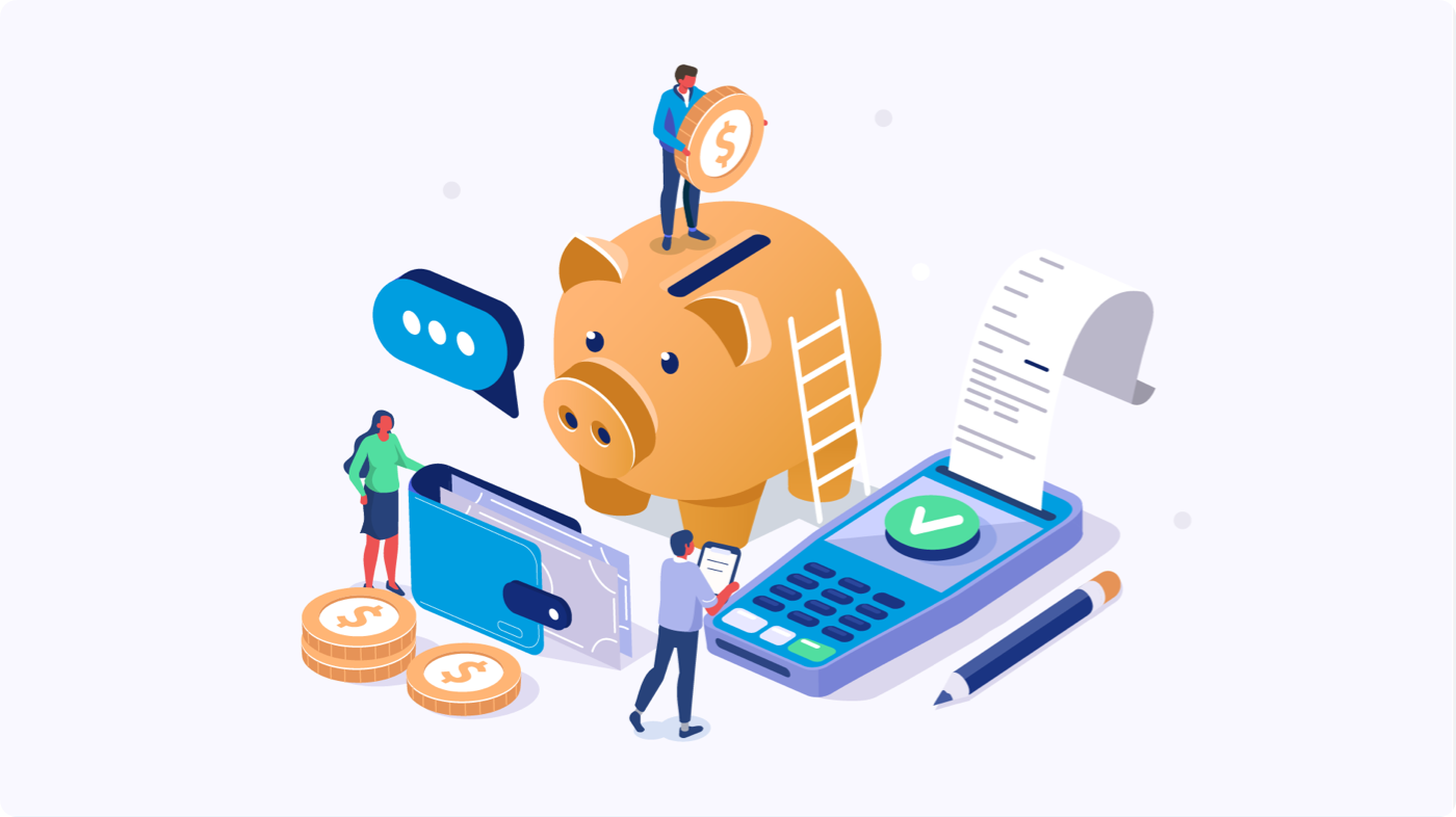 Illustration of a piggy bank, point of sale system, and wallet
