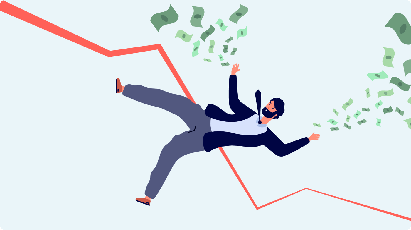 Illustration of a man falling over with money flying in the air