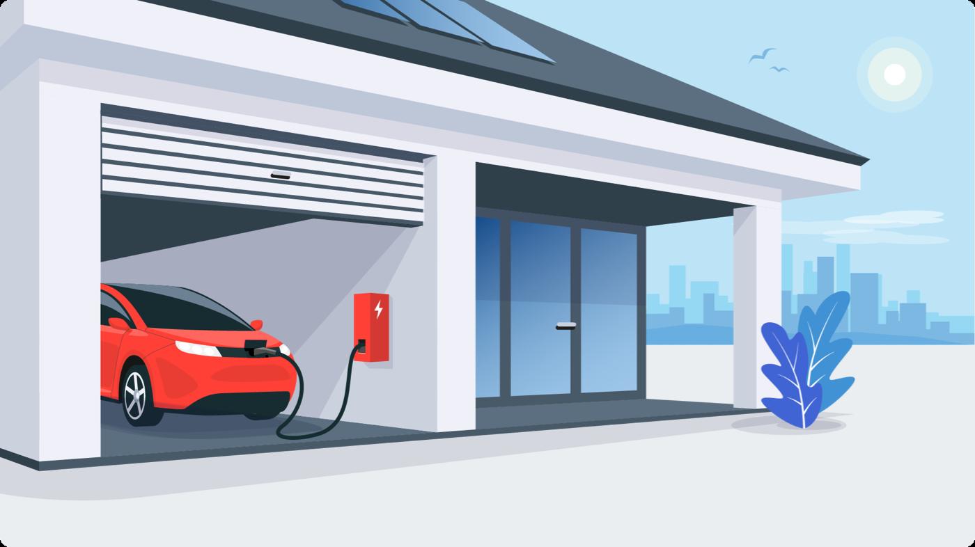 Ontario Electric Car Rebate: EV charging at a home garage