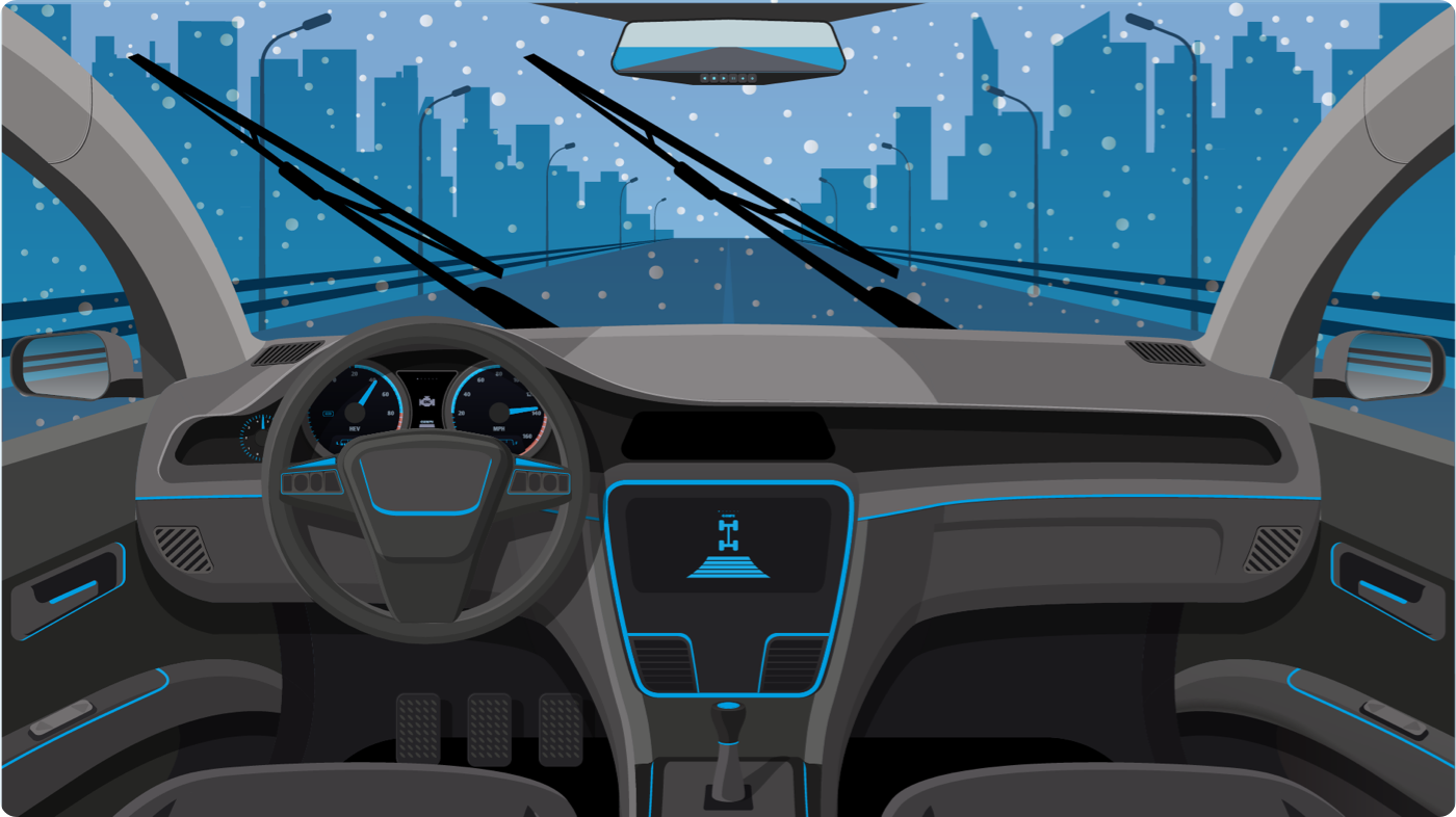 Illustration of a vehicle dashboard with windshield wipers