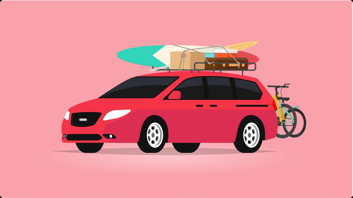 Minivan vs. SUV: Illustration of red minivan with cargo on top
