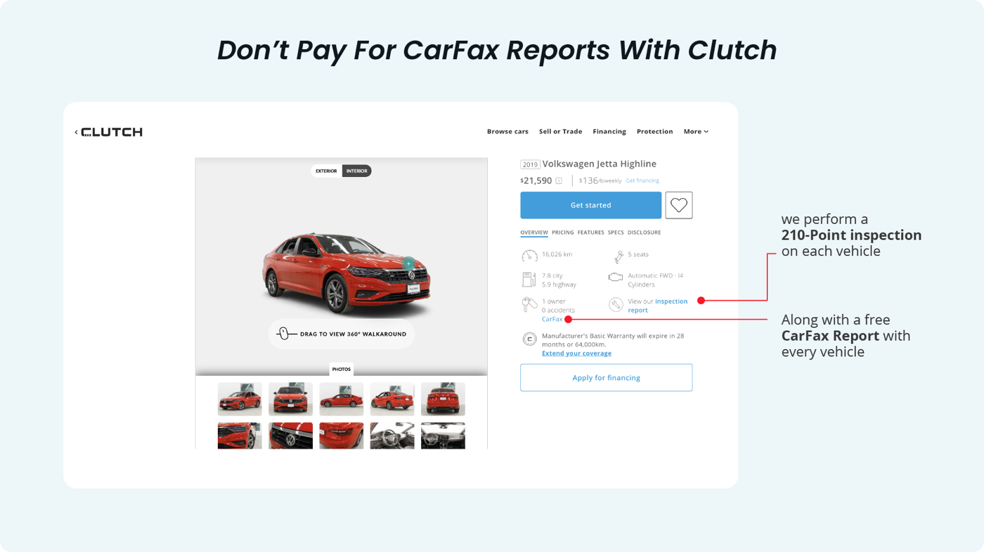 Where to find Carfax on Clutch site