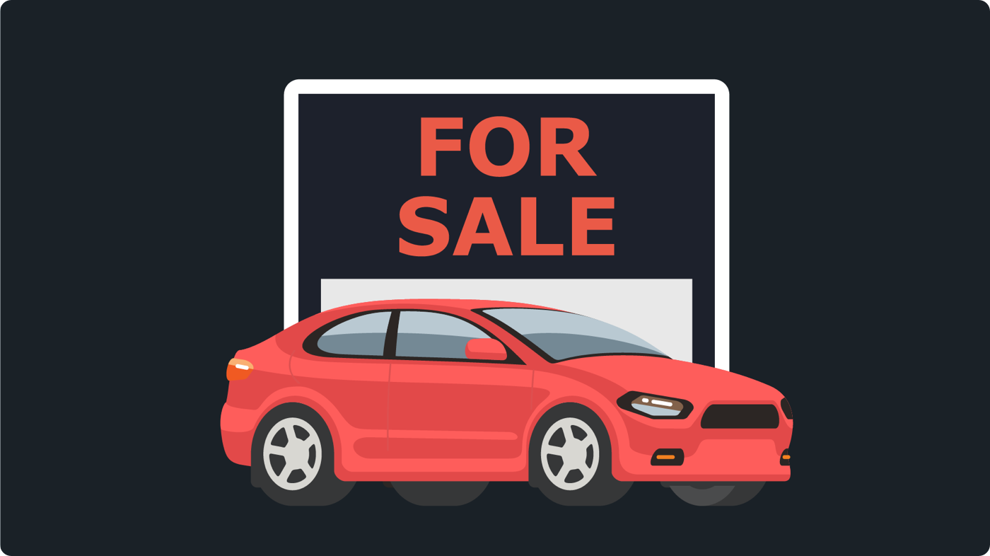 Selling a used car in Ontario: For sale sign with red vehicle