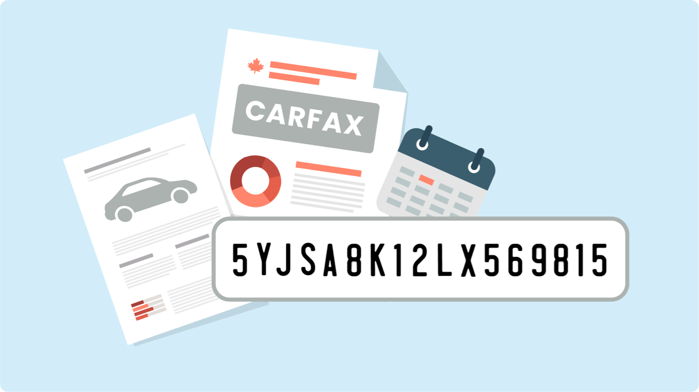 Illustration of a bill of sale, Carfax report and VIN