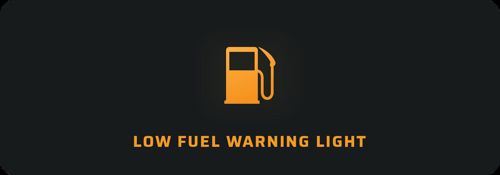 Low fuel car warning light