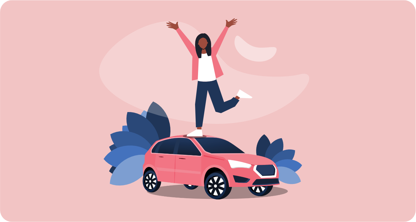 Woman excited to buy car