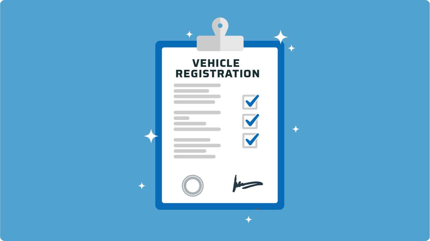 Clipboard with motor vehicle registration form