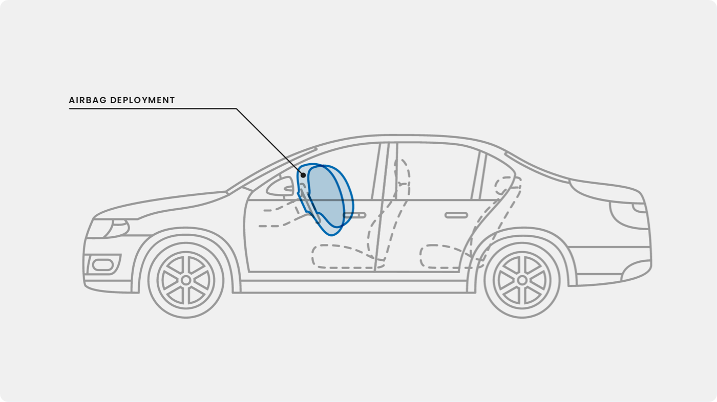 Salvage title vehicle with airbag deployment