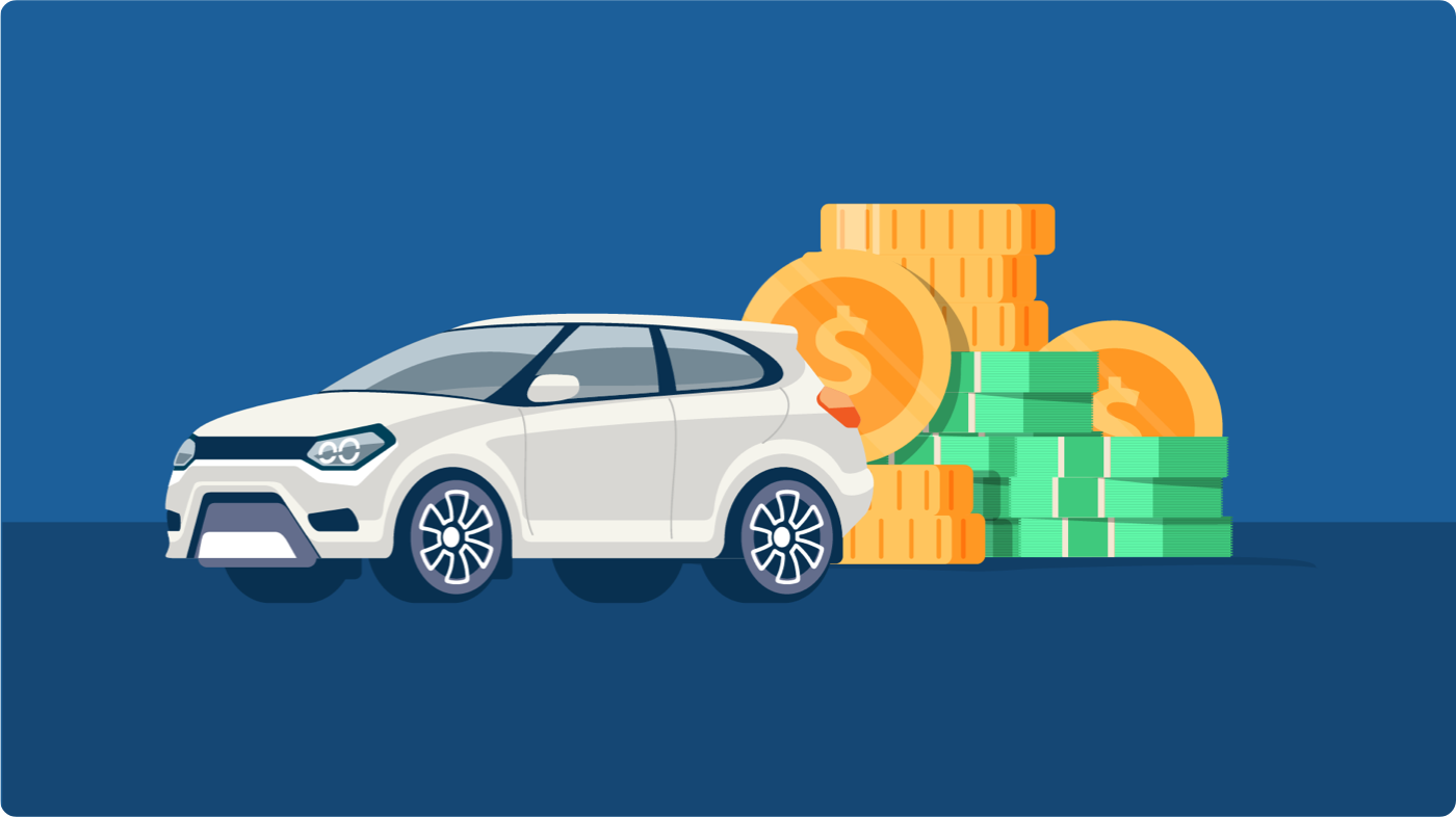 Canadian Black Book: Illustration of a white SUV with money in the background