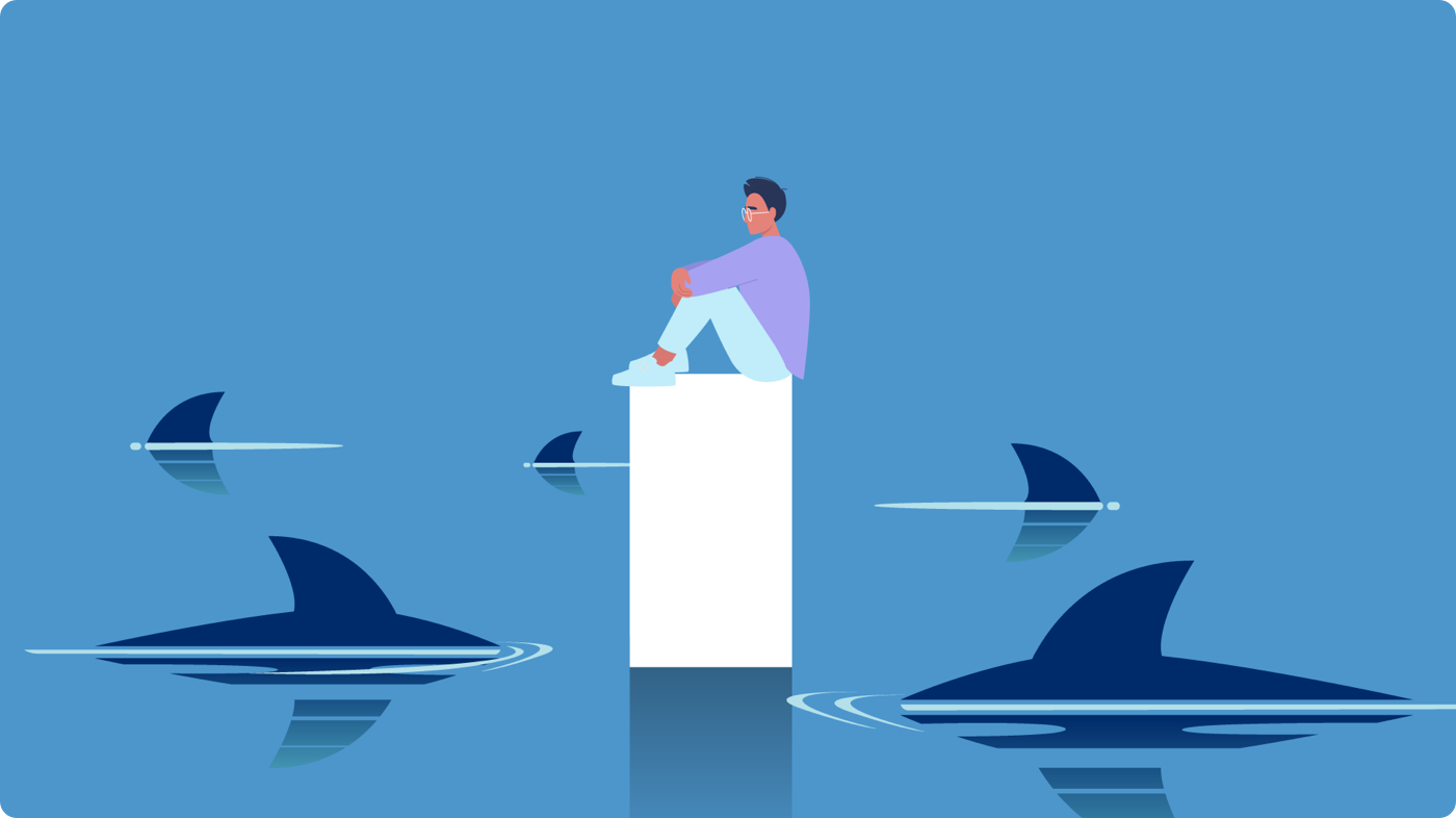 Graphic depiction of a person stay afloat above sharks
