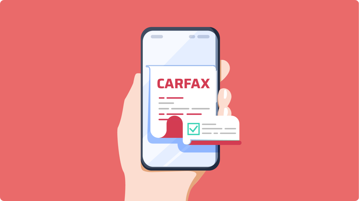 Graphic illustration of Carfax interface on a mobile phone