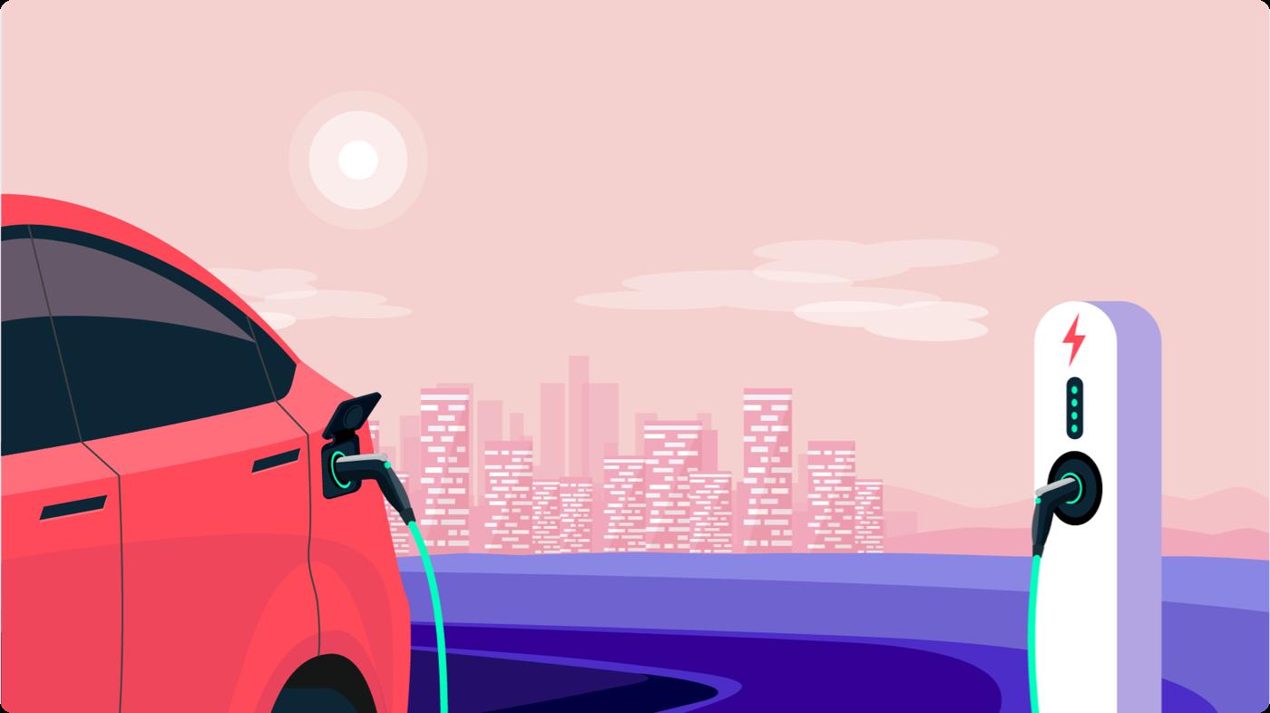 Ontario Electric Car Rebate: EV at a charging station