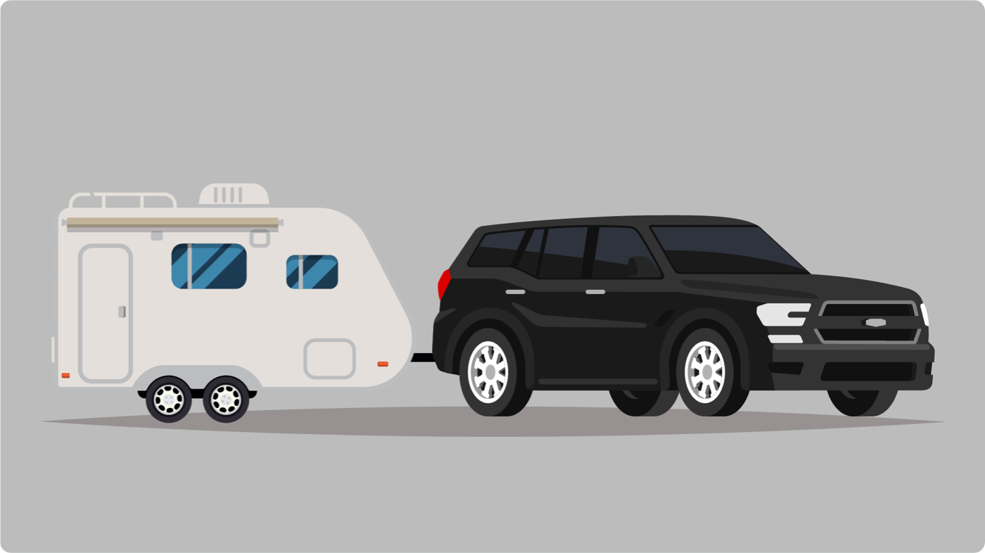 SUV towing a small camping trailer