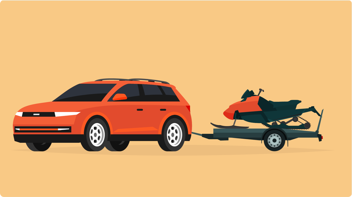 Orange SUV with towing capacity for a small vehicle