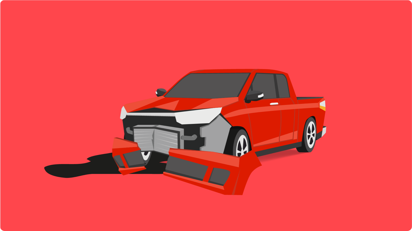 Car insurance Toronto: Illustration of red pickup truck with wrecked bumper