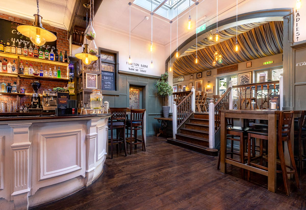 Pub Photography. Horse and Waggon, Surbiton. Interior photograph of staircase leading to bar