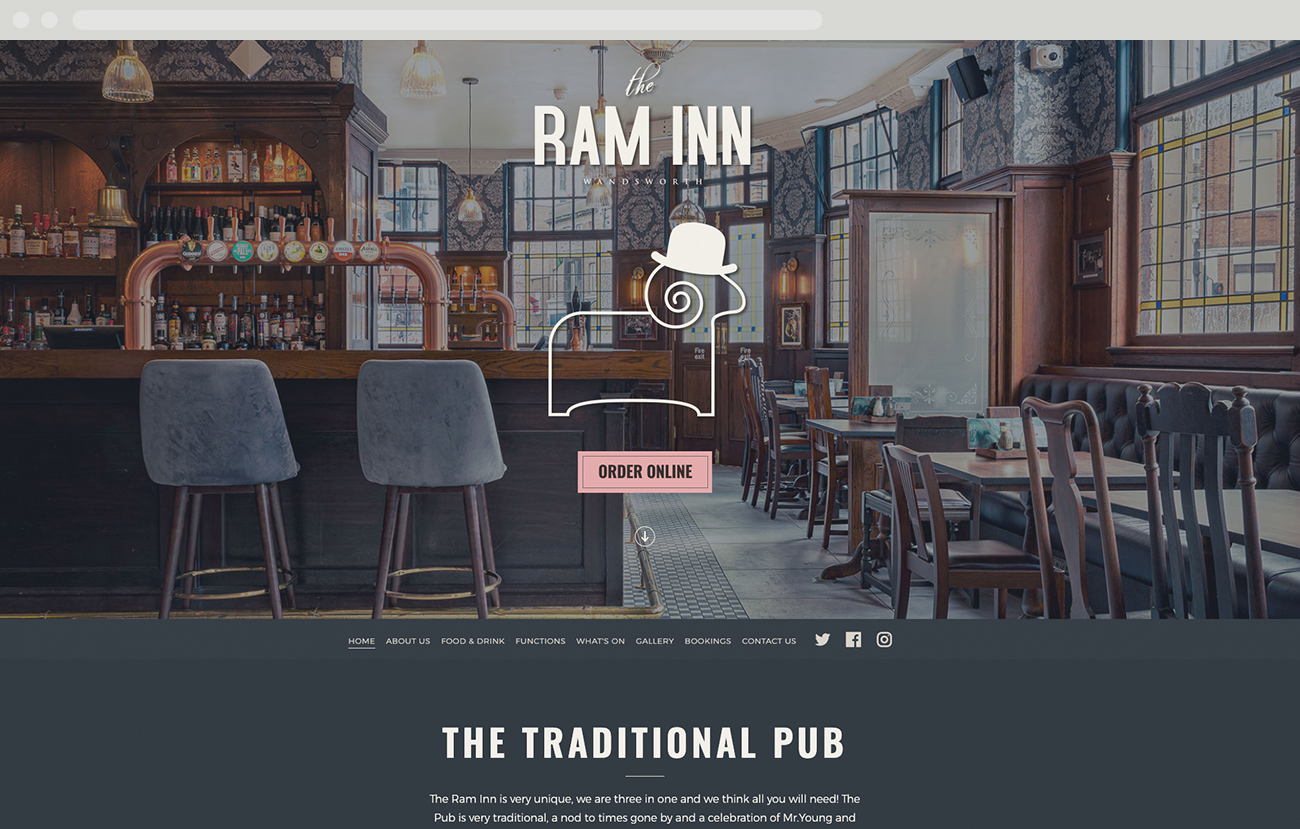 The Ram Inn, Wandsworth. Responsive website design desktop view