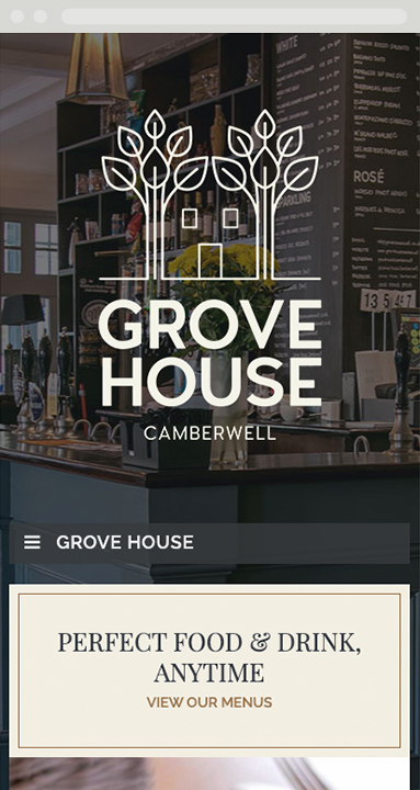 The Grove House, Camberwell responsive website design. Phone view