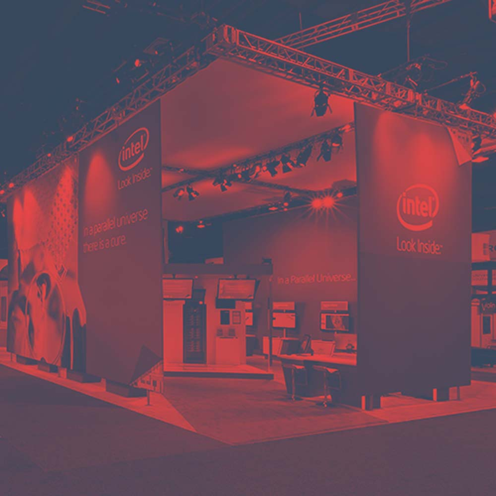 Intel stand that I designed the graphics and motion design for