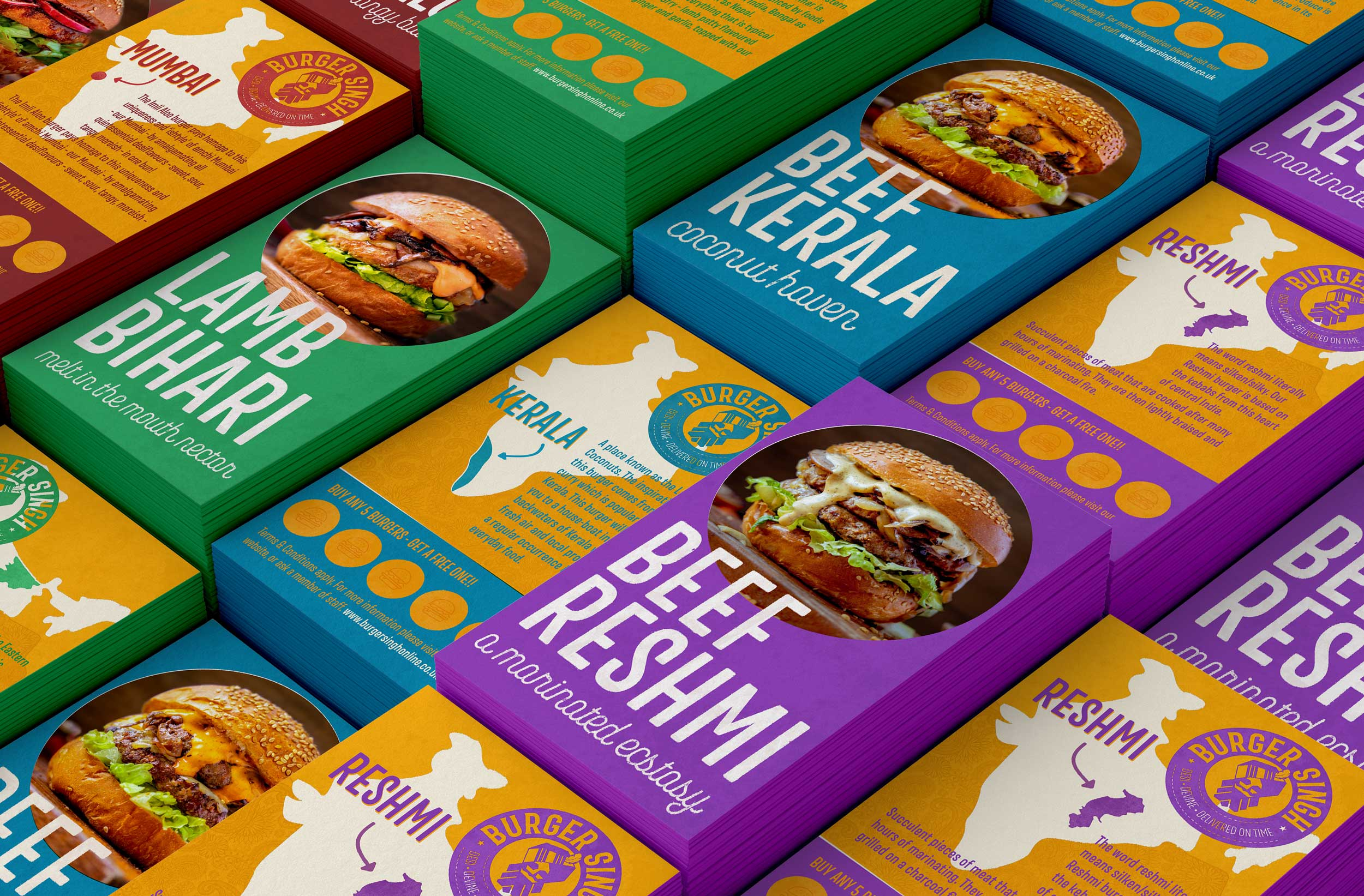 Each burger has it's own business card with loyalty scheme integrated.