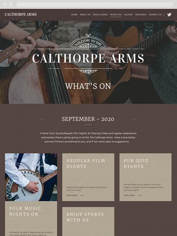 Calthorpe Arms, London responsive website design, tablet view