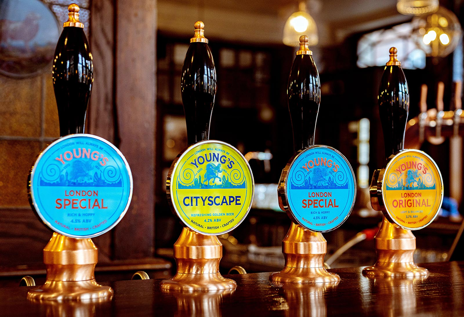 Photograph of the Young's beer pumps. London special, Cityscape, London Original