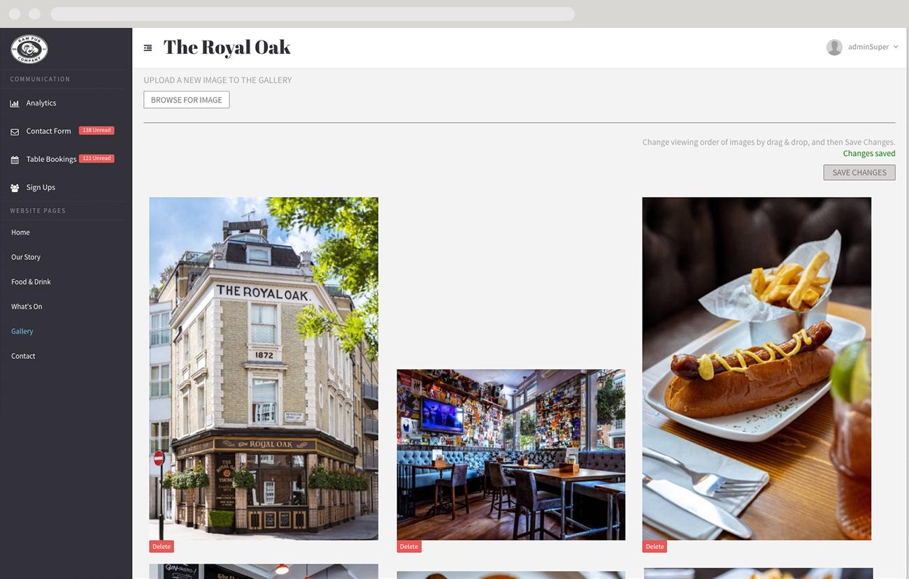 Bespoke website content management system - screen shot 1