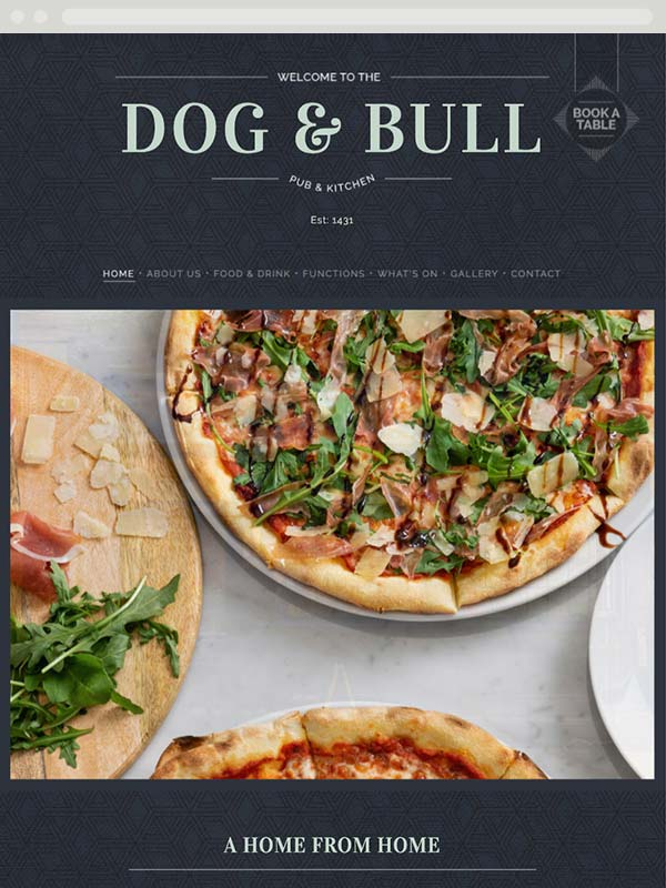 Website Design for the Dog and Bull, Croydon - Tablet view of the home page