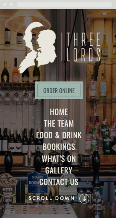 The Three Lords, London responsive website design home page view on mobile
