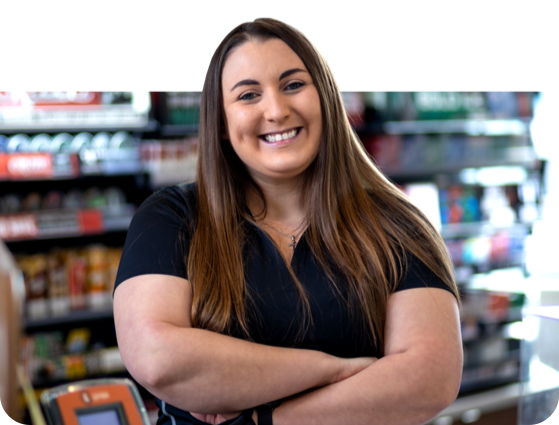 c-express woman employee smiling with arms crossed